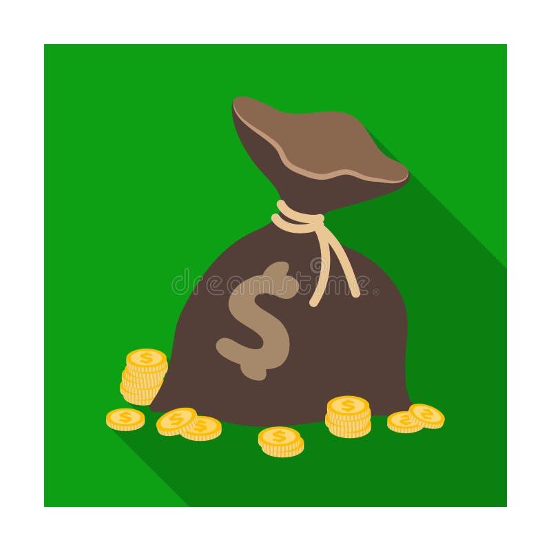 与硬币和美元的一个棕色袋子 胜利在赌博娱乐场 在平的样式传染媒介标志股票例证的Kasino唯一象 库存例证