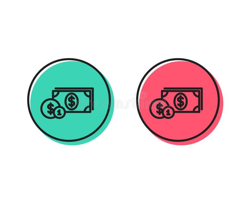与硬币线象的现金金钱 班卓琵琶 向量 皇族释放例证
