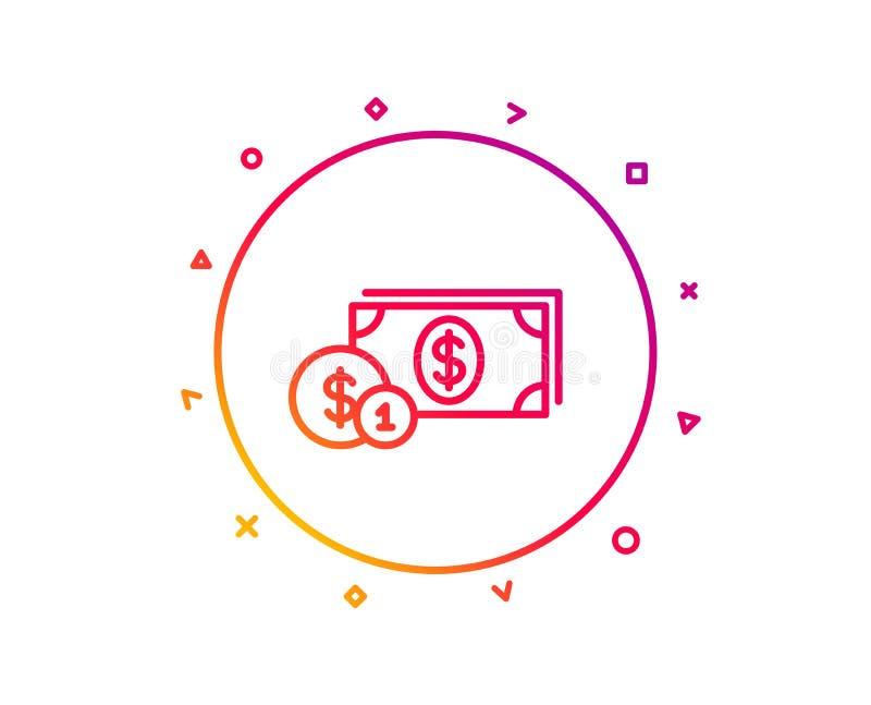 与硬币线象的现金金钱 班卓琵琶 向量 库存例证