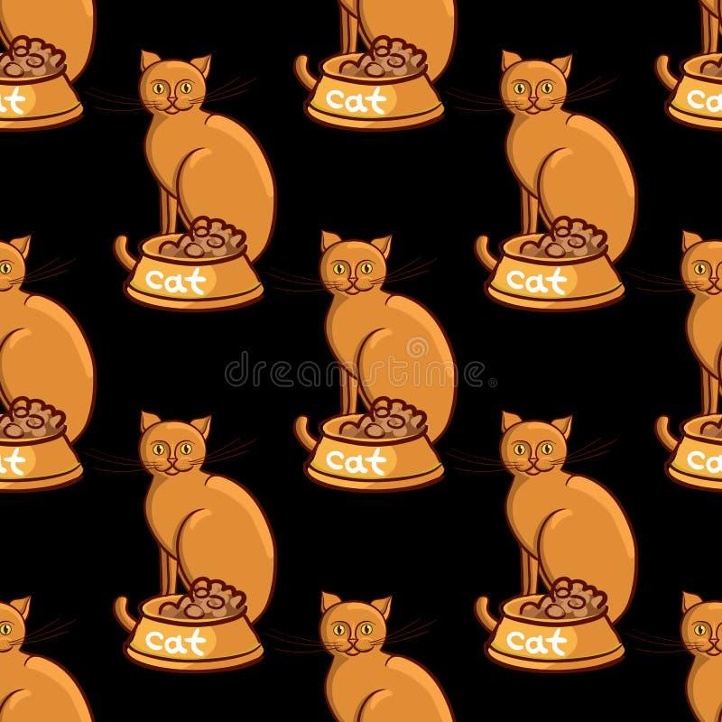 与碗的猫在黑背景传染媒介例证不尽的样式 向量例证