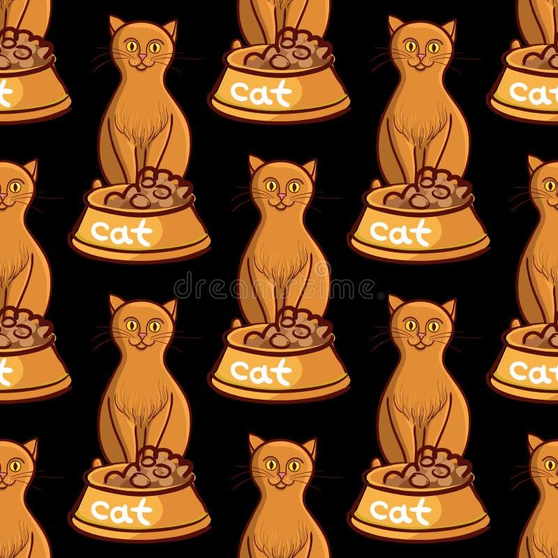 与碗的猫在黑背景无缝的传染媒介例证 向量例证