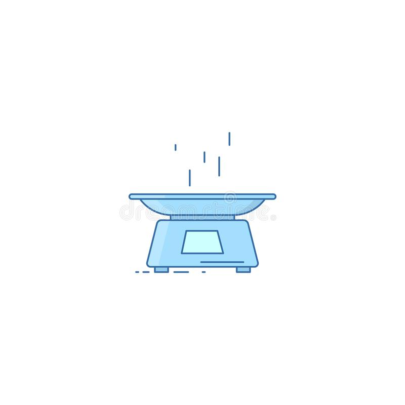 与碗的电子天平 厨房标度 也corel凹道例证向量 线性设计 向量例证