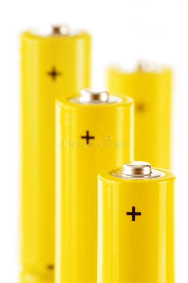 与碱性电池的构成。化学制品废物 免版税库存照片