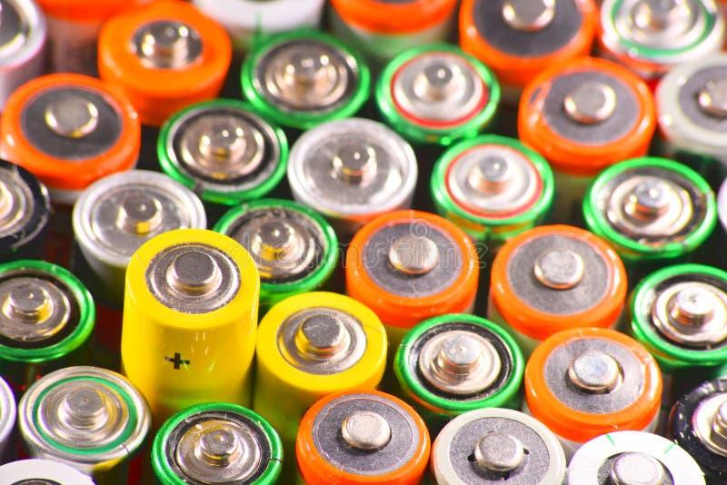 与碱性电池的构成 化学制品废物 库存照片