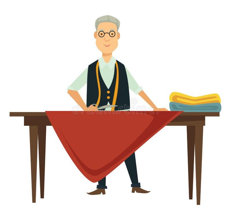 与磁带的裁缝或时尚编辑测量的纺织品在桌上 皇族释放例证