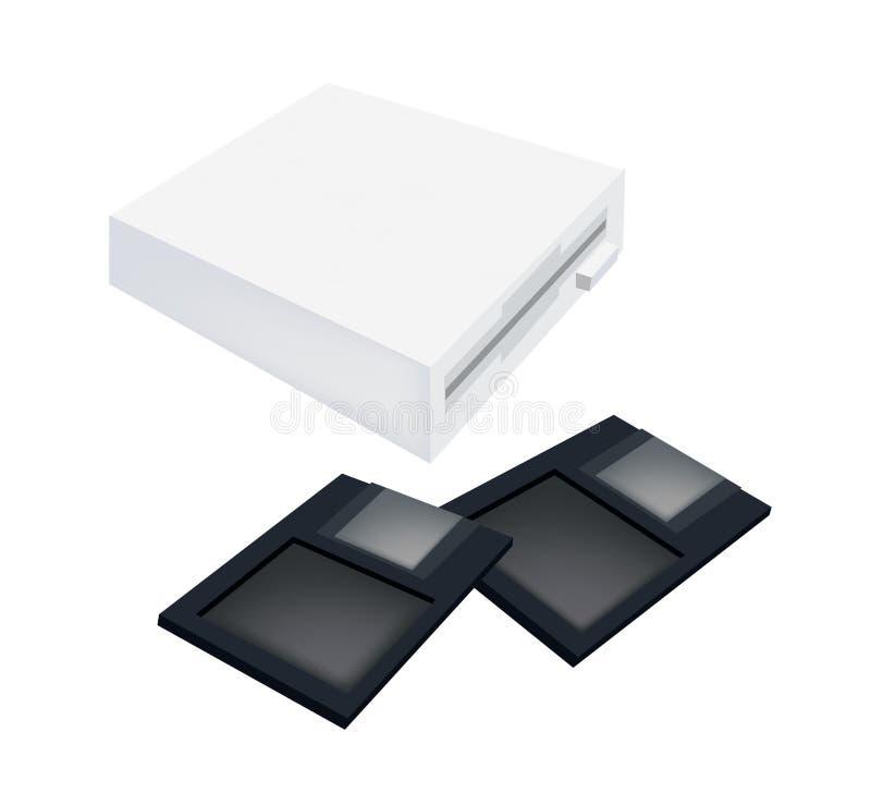 与磁盘的软盘驱动器在白色 向量例证