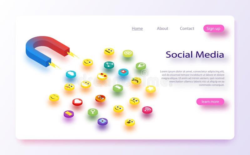 与磁铁允诺的追随者和喜欢的社会媒介概念传染媒介例证 向量例证