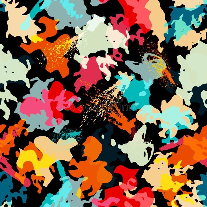 与磨损的城市元素的抽象无缝的几何样式喷洒三角霓虹油漆色的优质传染媒介例证 皇族释放例证