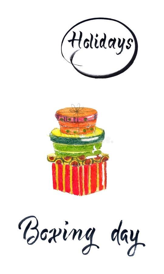 与礼品包装材料的愉快的节礼日销售 向量例证