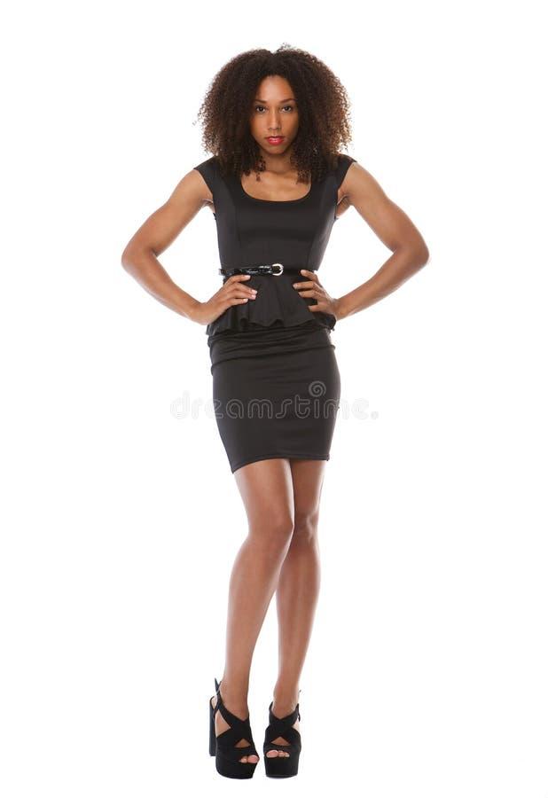 与礼服的美好的黑时装模特儿 库存图片