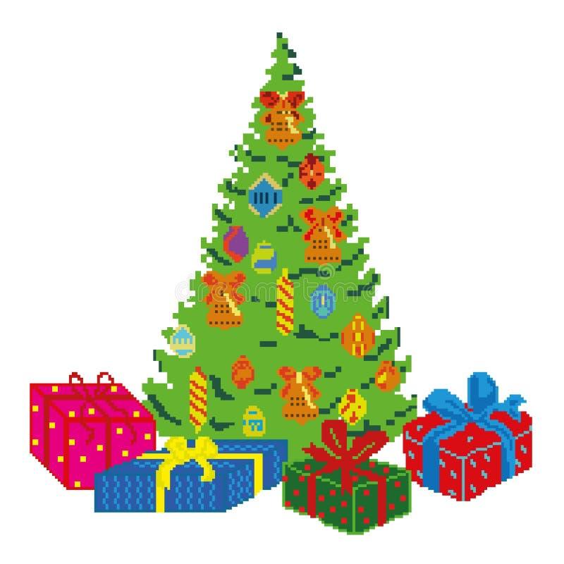 与礼物、玩具和装饰的云杉新年,绘在正方形,映象点 也corel凹道例证向量 向量例证