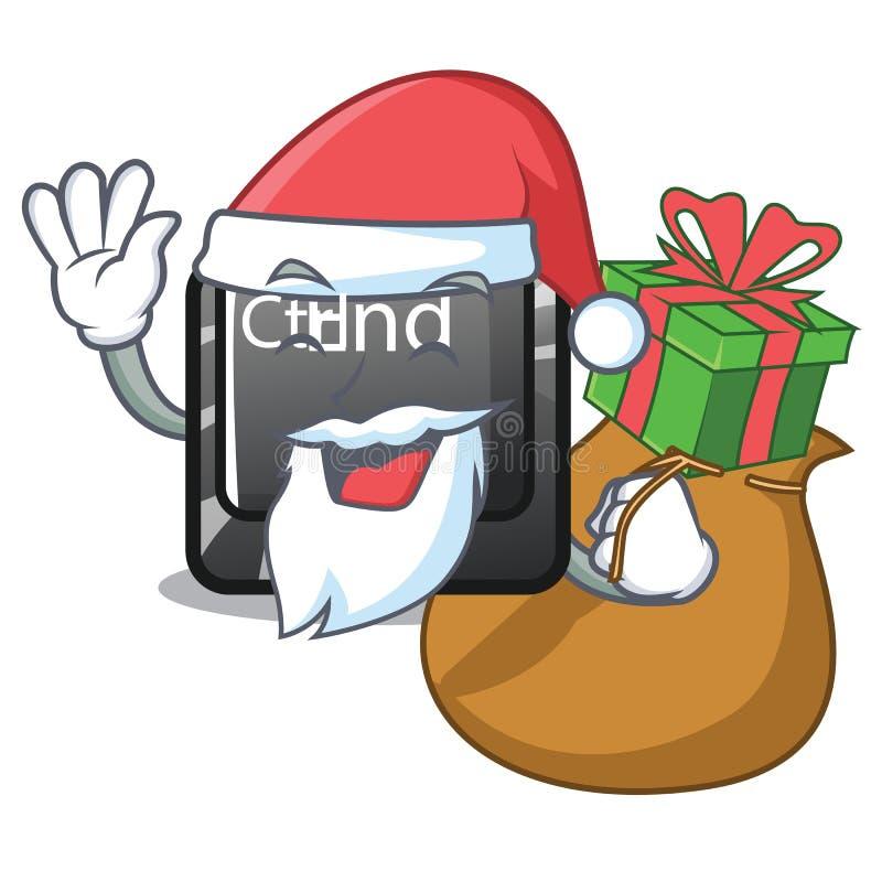 与礼物位于动画片键盘的末端按钮的圣诞老人 向量例证