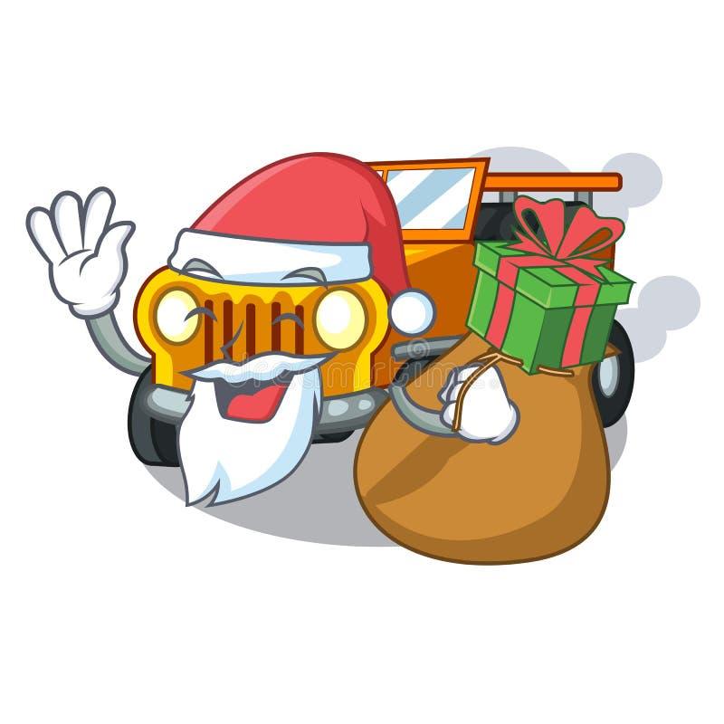 与礼物吉普动画片汽车的圣诞老人在前面赦免 向量例证