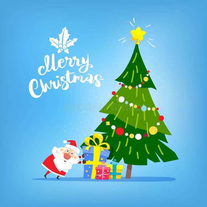 与礼物和圣诞老人的圣诞树 圣诞快乐文本 向量例证