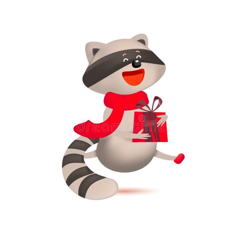 与礼物和圣诞节问候的逗人喜爱的浣熊 向量例证