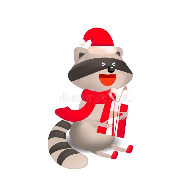 与礼物和圣诞节问候的逗人喜爱的浣熊 库存例证