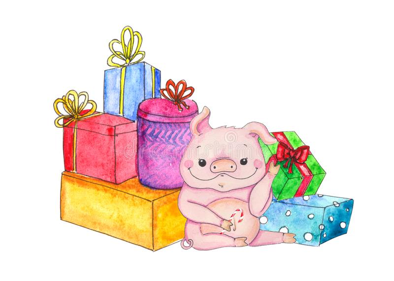 与礼物和糖果的圣诞节猪 皇族释放例证