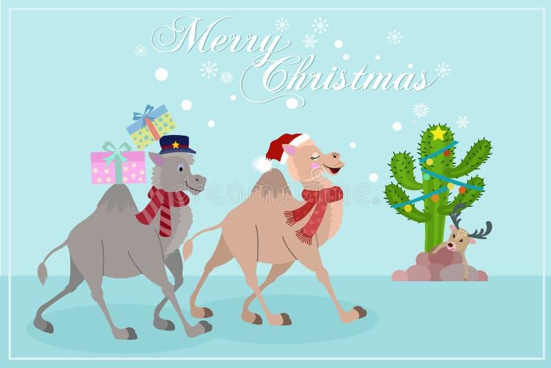 与礼物圣诞卡片卡片设计的逗人喜爱的骆驼 库存例证
