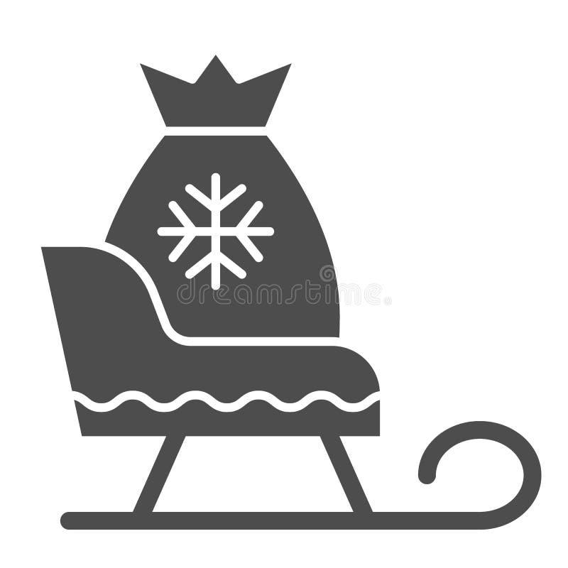 与礼物坚实象的圣诞老人雪橇 圣诞节爬犁在白色隔绝的传染媒介例证 与当前袋子的雪橇 向量例证