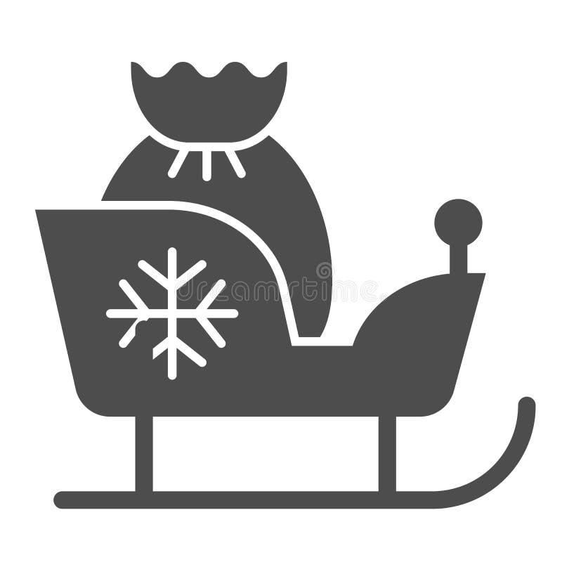 与礼物坚实象的圣诞节雪橇 圣诞老人爬犁在白色隔绝的传染媒介例证 与圣诞老人袋子纵的沟纹的雪橇 向量例证