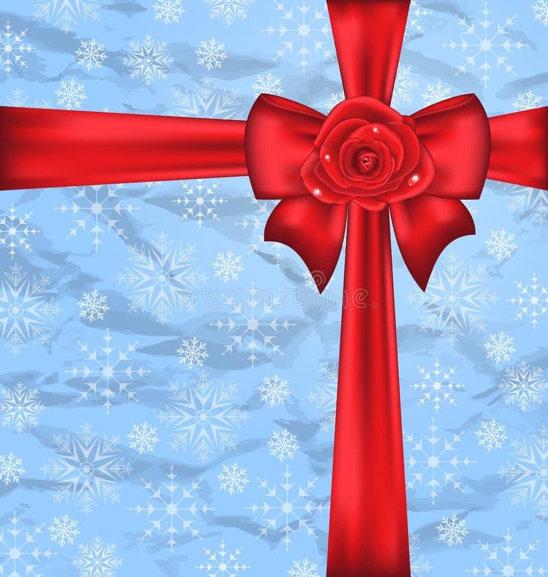 与礼物弓,雪花纹理的欢乐包装 皇族释放例证