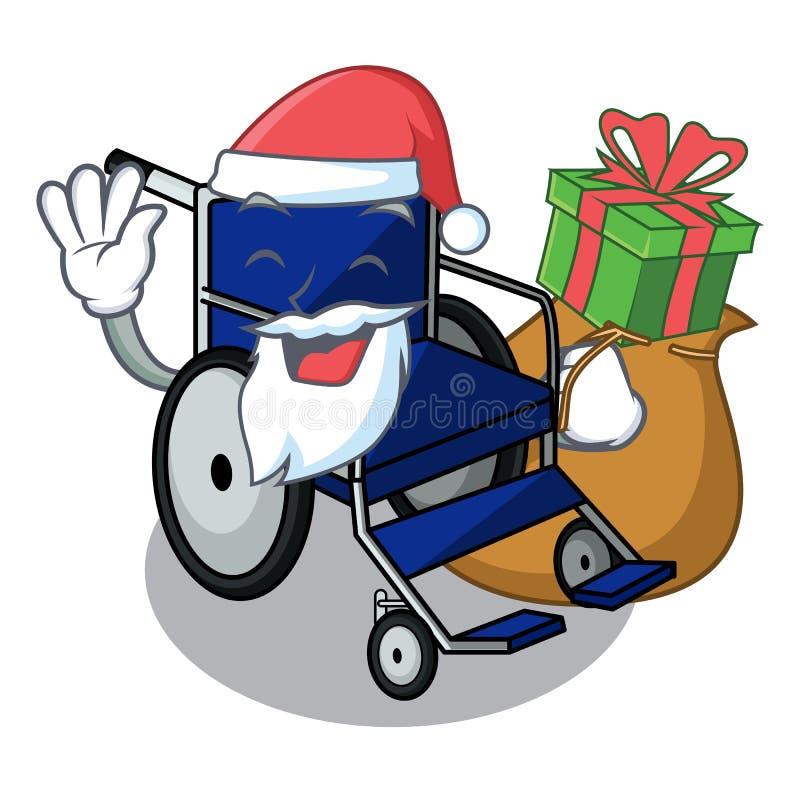 与礼物微型轮椅的圣诞老人吉祥人形状  库存例证