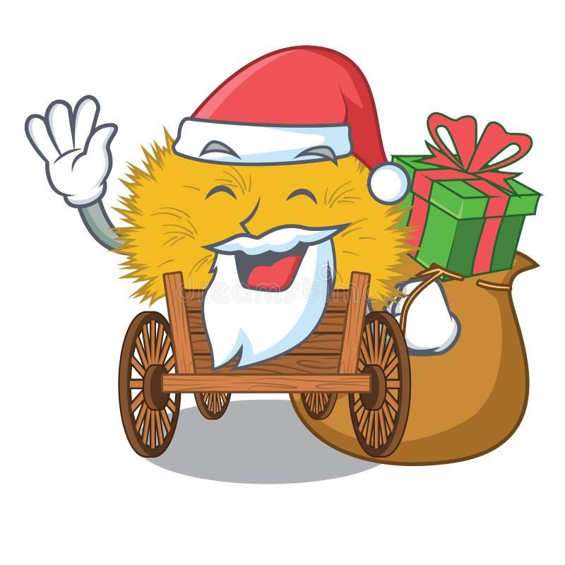 与礼物微型haydire的圣诞老人在动画片木桌上 皇族释放例证