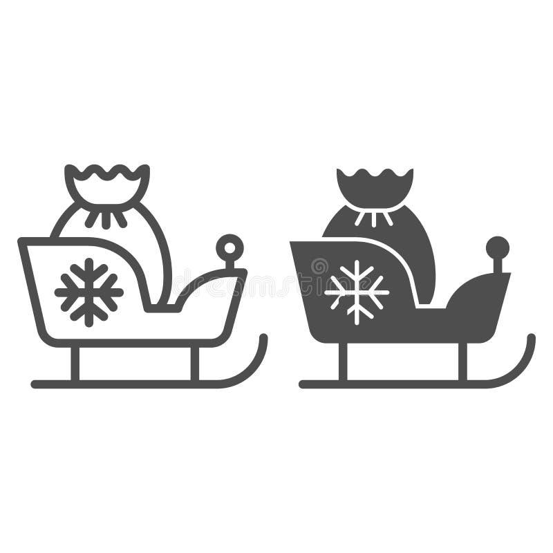 与礼物排行和纵的沟纹象的圣诞节雪橇 圣诞老人爬犁在白色隔绝的传染媒介例证 与圣诞老人的雪橇 库存例证