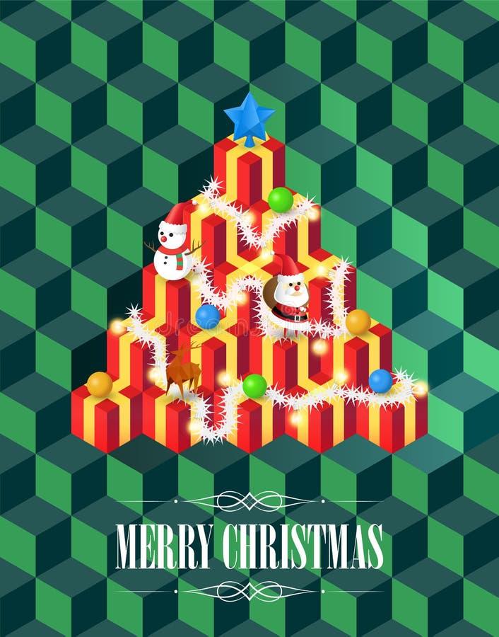 与礼物概念,在绿色,背景,传染媒介的等量立方体样式的圣诞树 向量例证