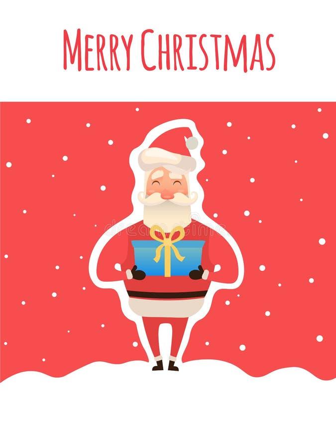 与礼物的动画片圣诞老人在手上 使用箱子 圣诞快乐,圣诞老人字符, xmas时间 向量 库存例证