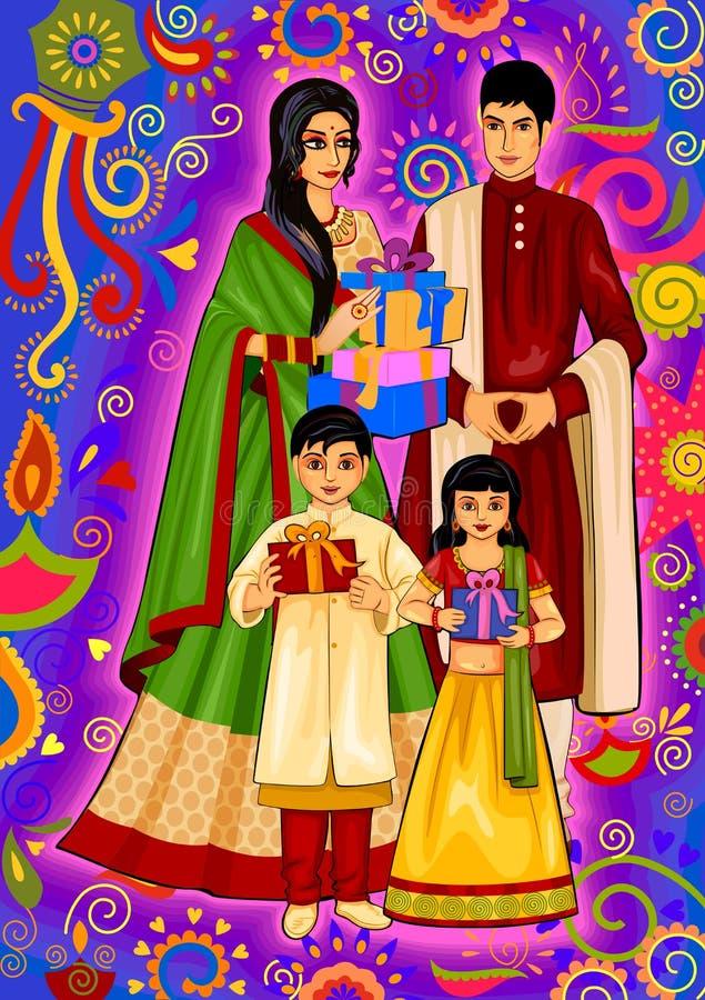 与礼物的印地安家庭屠妖节节日庆祝的在印度 向量例证