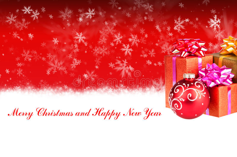 与礼物的圣诞快乐和新年快乐红色背景 向量例证