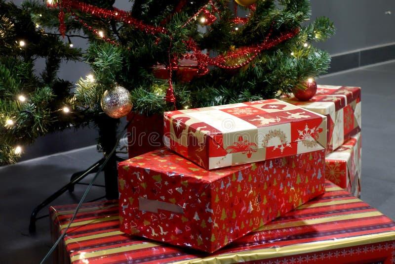 与礼物的圣诞树在温暖的夜 免版税库存图片
