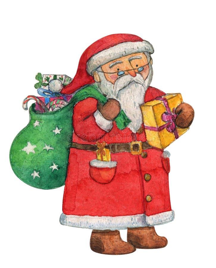 与礼物的圣诞老人祝愿圣诞快乐的逗人喜爱的和新年快乐请求,水彩,手图画,水彩画 向量例证