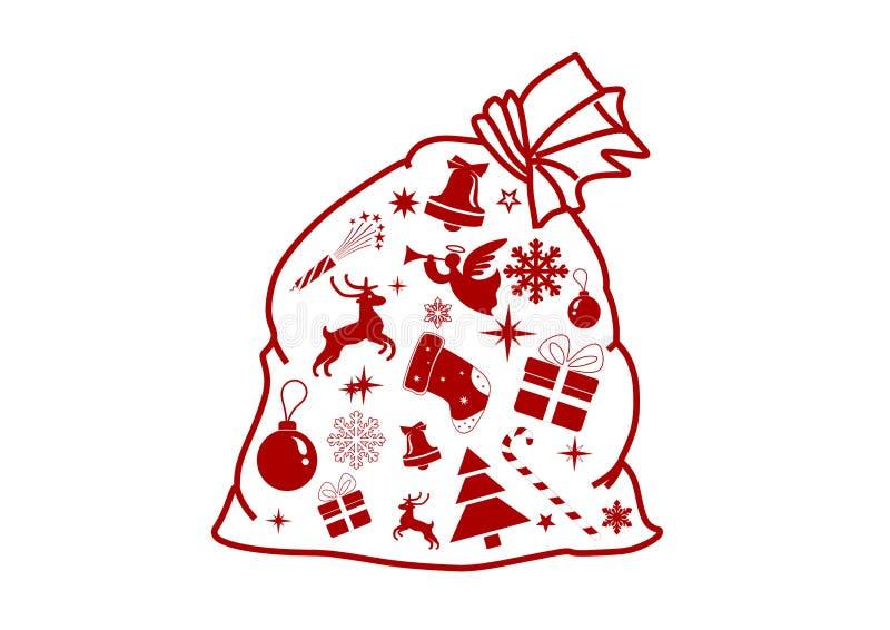 与礼物的圣诞老人袋子 皇族释放例证