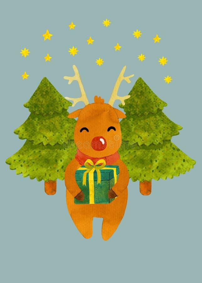 与礼物的圣诞节鹿在树背景  免版税图库摄影