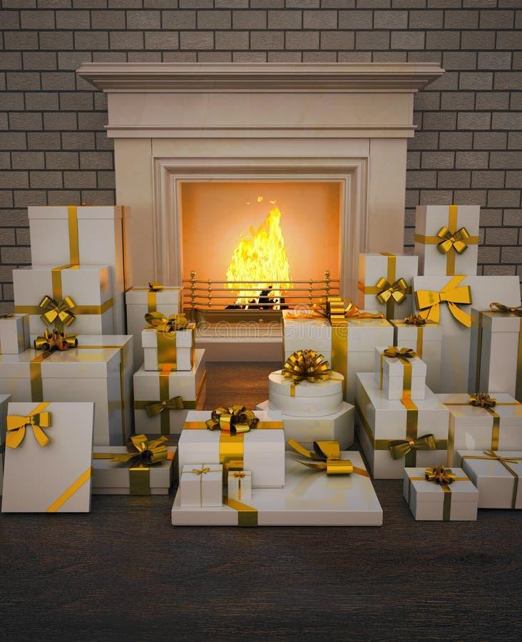 与礼物的壁炉在木地板上 库存例证