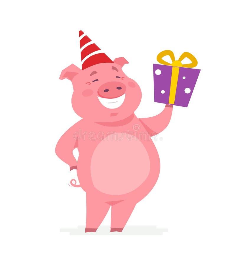 与礼物的愉快的猪-漫画人物例证 向量例证