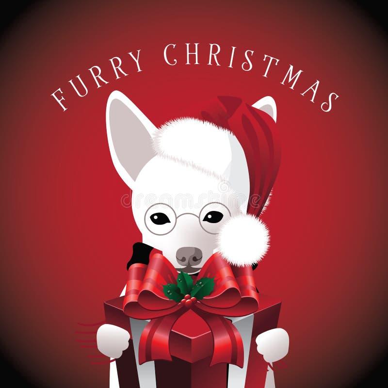 与礼物的毛茸的圣诞节狗 向量例证