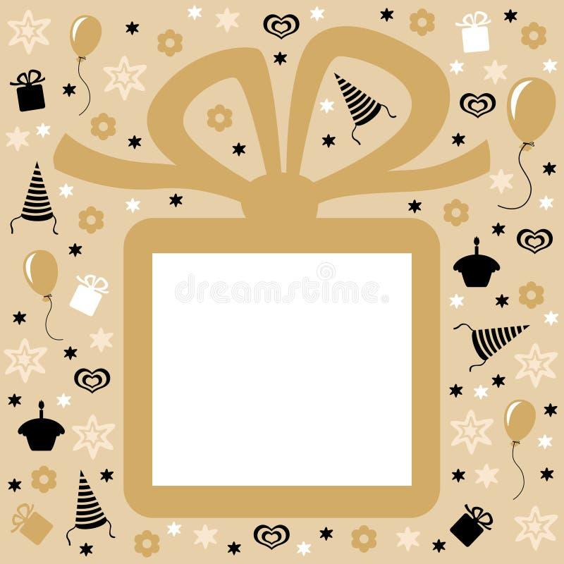 与礼物的生日快乐金黄卡片 向量例证