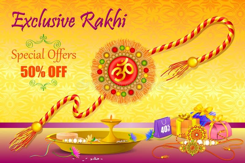 与礼物的装饰的Rakhi Raksha Bandhan销售的 皇族释放例证
