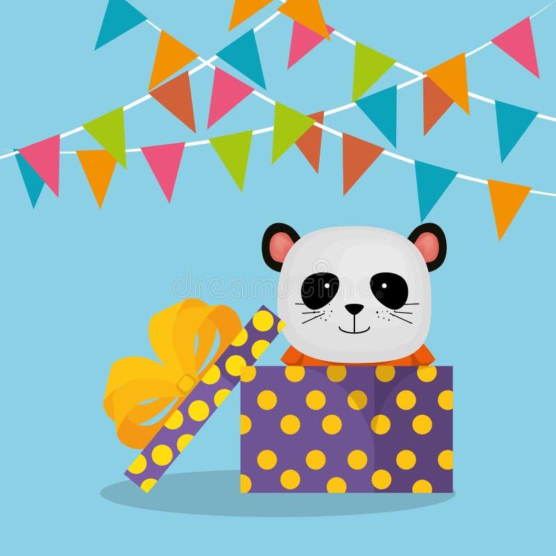 与礼物的逗人喜爱和小的熊熊猫 库存例证