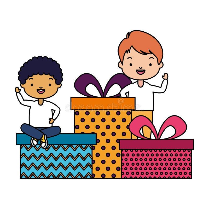 与礼物的愉快的孩子 向量例证