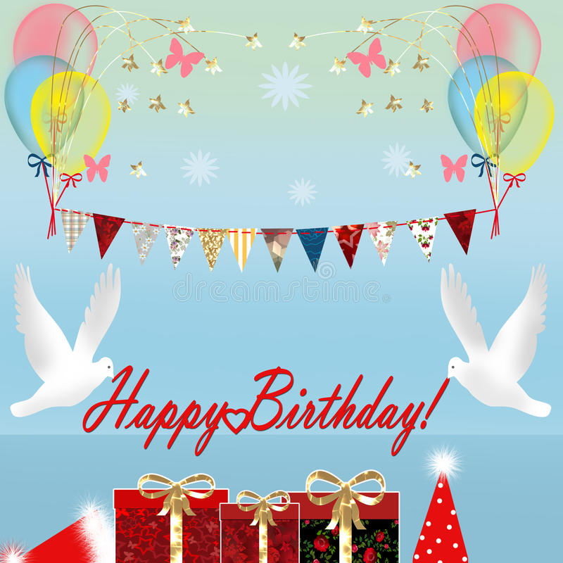 与礼物盒和鸟的生日贺卡 向量例证