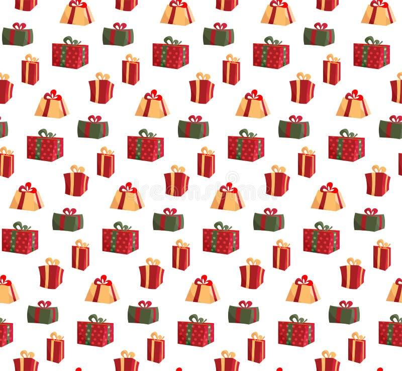与礼物盒的图片的无缝的样式 样式织品印刷品的礼物盒,包裹包裹礼物盒纸 ?? 皇族释放例证