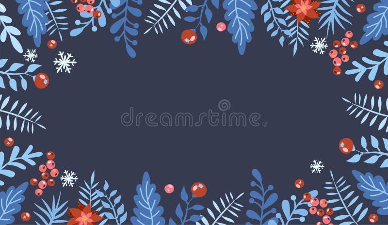 与礼物盒的圣诞节平的被放置的设计 圣诞节和新年元素,您的设计的海报 伟大为贺卡,岗位 库存例证