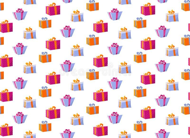 与礼物盒的无缝的样式 样式织品印刷品的礼物盒,包裹包裹礼物盒纸大套  库存例证
