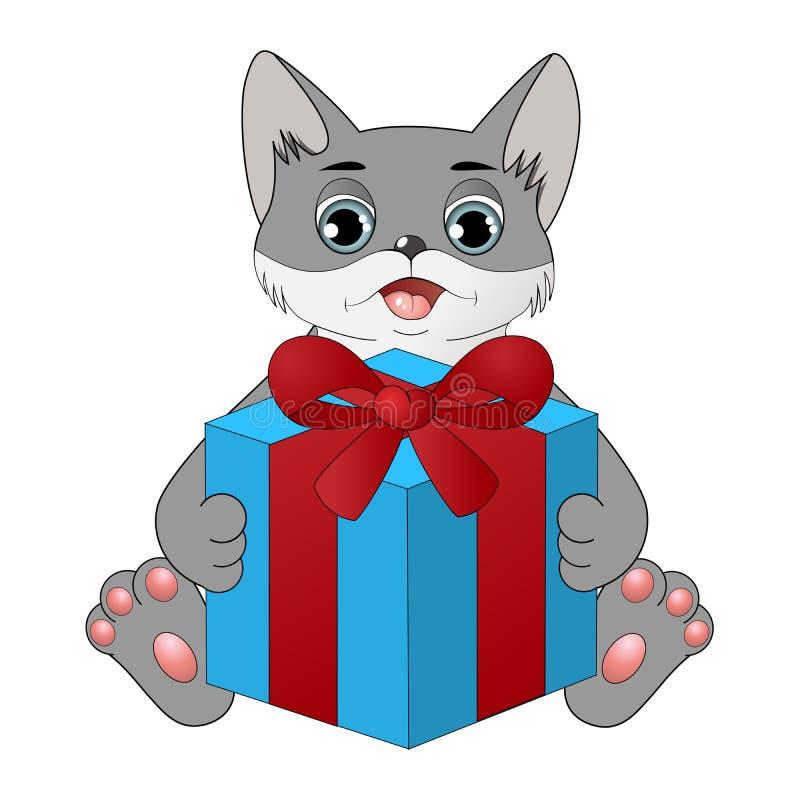 与礼物盒的逗人喜爱的动画片猫 库存例证
