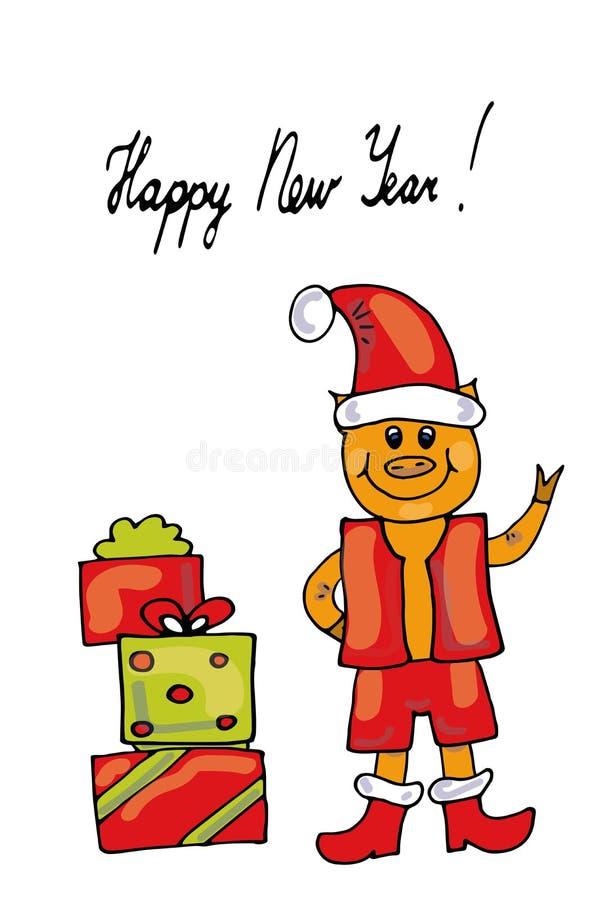 与礼物盒的逗人喜爱的圣诞老人猪、圣诞快乐和新年快乐2019年-例证传染媒介 向量例证