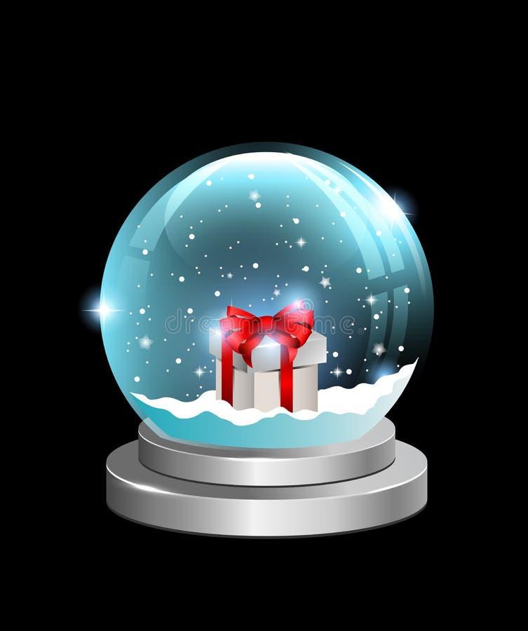 与礼物盒的雪地球 库存例证